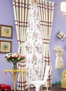 【摩尔登】枫叶格子印花窗帘 窗帘卧室印花摩尔登窗帘品牌