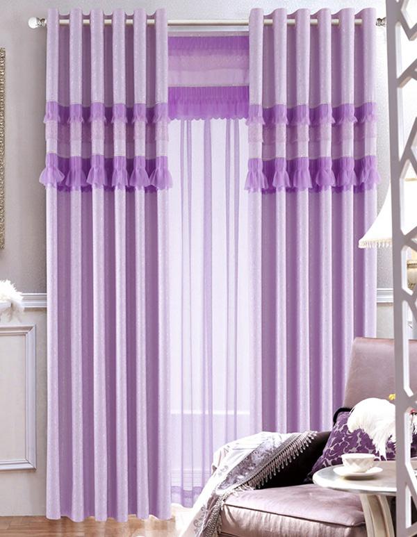紫色墙壁搭配窗帘