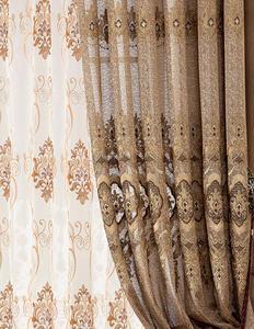 【摩尔登】2017奢华金丝绣花窗帘 优雅庄重卧室大厅窗帘布艺