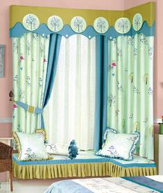 【摩尔登】清新树木大窗帘 大厅视觉窗帘 卧室印花窗帘品牌
