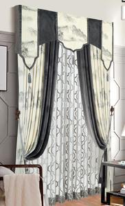 【摩尔登】中式传统山水画适合现代家居装饰窗帘亚光绒布窗帘 卧室客厅窗帘品牌