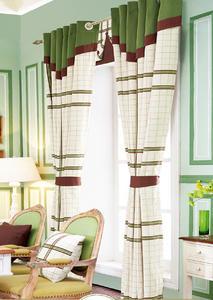 【摩尔登】绿色格子窗帘 窗帘卧室印花 摩尔登窗帘品牌定做