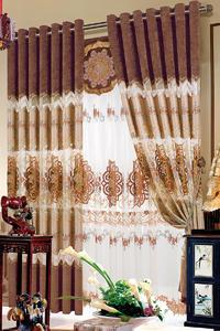 【摩尔登】中式绣花风格半遮光窗帘 别墅大厅卧室窗帘定做