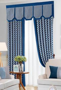 【摩尔登】都市蓝白时尚窗帘 花型精致窗帘书房客厅窗帘品牌