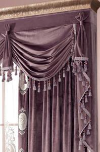 【摩尔登】2017欧式绒布花边绣花 浪漫紫色系窗帘 卧室大厅家居装饰窗帘布艺品牌