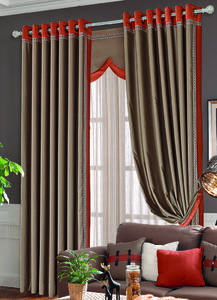 【摩尔登】2017都市时尚明快的色彩拼接窗帘 穿透式的卧室窗帘布艺 窗帘品牌