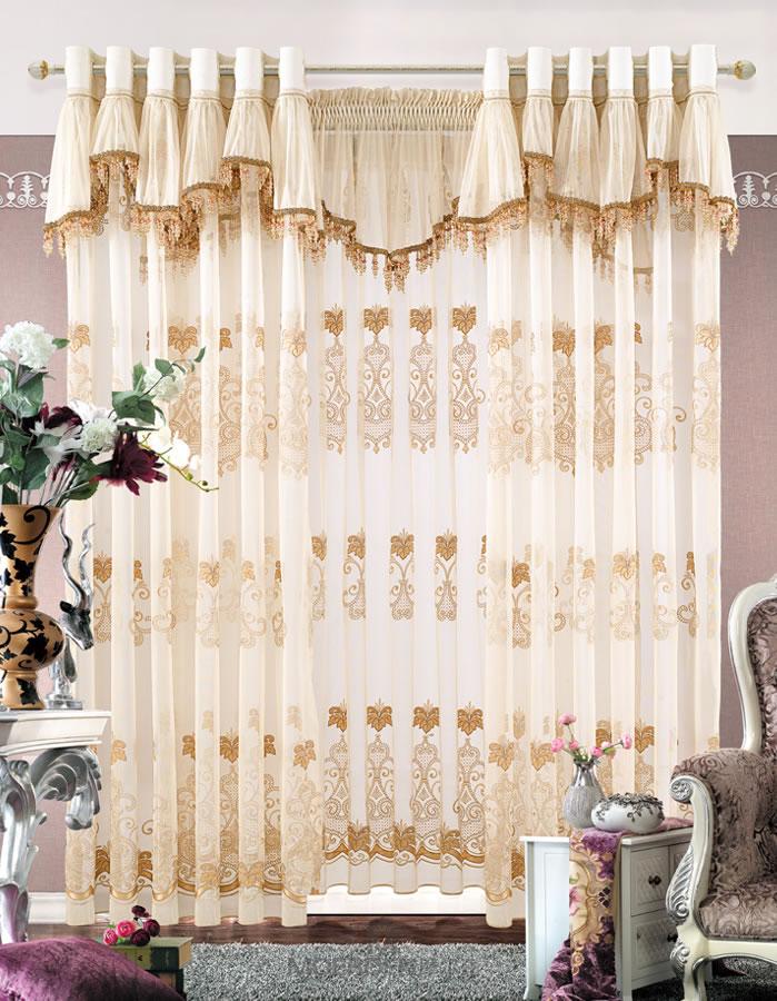 欧式客厅落地高档品牌绣花窗帘