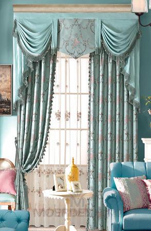 【摩尔登】2017美式光触媒技术遮光提花窗帘 唯美细腻的卧室大厅窗帘布艺