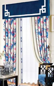 【摩尔登】中式荷花水墨画拼接数码印花亚光绒布窗帘 卧室客厅窗帘品牌