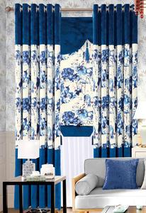 【摩尔登】中式花型水墨画格半遮光窗帘  大厅卧室窗帘定做