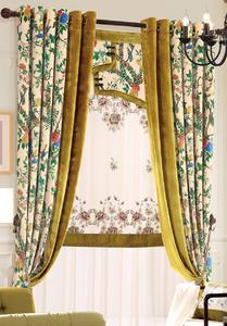【摩尔登】中式数码印花亚光绒布现代家居窗帘 卧室客厅窗帘品牌