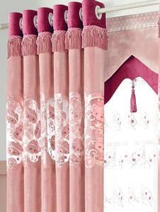 【摩尔登】2017现代时尚款激光绣花和粉嫩的气息窗帘  卧室窗帘 摩尔登窗帘品牌定做加盟